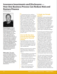 Insurance Investments and Disclosures — How One Business Process Can Reduce Risk and Restore Finance, Page 1, Michael Erlanger, Compliance Matters
