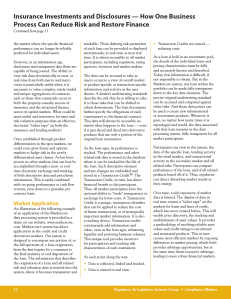 Insurance Investments and Disclosures — How One Business Process Can Reduce Risk and Restore Finance, Page 3, Michael Erlanger, Compliance Matters