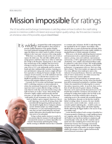 Mission Impossible for Ratings, David M. Rowe, Page 60, Risk Magazine, July 2011