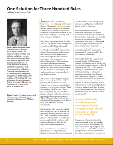 One Solution for 300 Rules, Page 10, Hugh Carter Donahue, Compliance Matters, July 2011